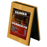 Menu Solutions CHRT7- Charleston 5 inch x 7 inch Country Oak Two View Wooden Table Tent