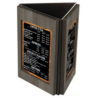 Menu Solutions TRIWD-B Charleston 5 inch x 7 inch Ash Three View Wooden Table Tent
