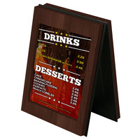 Menu Solutions CHRT7 Charleston 5 inch x 7 inch Walnut Two View Wooden Table Tent