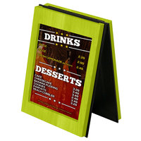 Menu Solutions CHRT7 Charleston 5 inch x 7 inch Lime Two View Wooden Table Tent