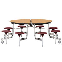 National Public Seating MTR60S-PWPEPC 60 inch Round Mobile Cafeteria Table with Plywood Core and 8 Stools