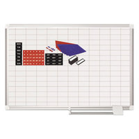 MasterVision MA0392830A 24 inch x 36 inch Magnetic 1 inch x 2 inch Gridded Steel Whiteboard with Silver Aluminum Frame