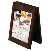 Menu Solutions CHRT4 Charleston 4 inch x 6 inch Walnut Two View Wooden Table Tent