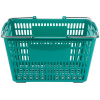 Green 18 3/4 inch x 11 1/2 inch Plastic Grocery Market Shopping Basket