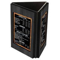 Menu Solutions TRIWD-B Charleston 5 inch x 7 inch Black Three View Wooden Table Tent