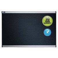 Quartet B343A 24 inch x 36 inch Black Embossed Foam Bulletin Board with Silver Aluminum Frame