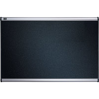 Quartet B343A 24 inch x 36 inch Black Embossed Foam Bulletin Board with Silver Aluminum Frame