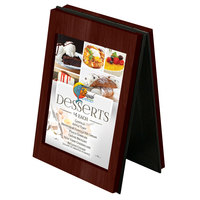 Menu Solutions CHRT4-MAHOGANY Charleston 4 inch x 6 inch Mahogany Two View Wooden Table Tent