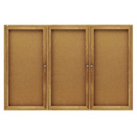 Quartet 367 48 inch x 72 inch Enclosed Hinged 3 Door Oak Cork Board Cabinet