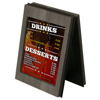 Menu Solutions CHRT7 Charleston 5 inch x 7 inch Ash Two View Wooden Table Tent
