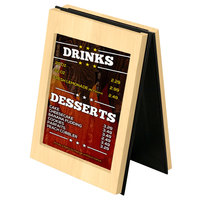 Menu Solutions CHRT7 Charleston 5 inch x 7 inch Natural Two View Wooden Table Tent