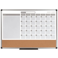 MasterVision MB3507186 18 inch x 24 inch 3-in-1 Magnetic Calendar Whiteboard / Cork Board with Silver Aluminum Frame