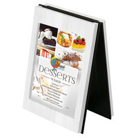 Menu Solutions CHRT4 Charleston 4 inch x 6 inch White Wash Two View Wooden Table Tent