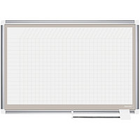MasterVision CR0632830A All Purpose 24 inch x 36 inch Magnetic 1 inch x 1 inch Gridded Porcelain Whiteboard with Silver Aluminum Frame