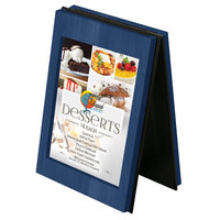 Menu Solutions CHRT4-TRUE BLUE Charleston 4 inch x 6 inch True Blue Two View Wooden Table Tent