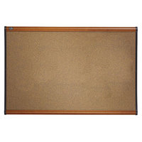 Quartet B243LC Prestige 24 inch x 36 inch Graphite-Blend Cork Board with Cherry Plastic Frame