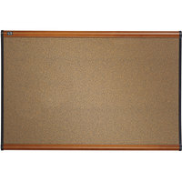 Quartet B243LC Prestige 24 inch x 36 inch Graphite-Blend Cork Board with Cherry Plastic Frame