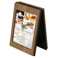 Menu Solutions CHRT4 Charleston 4 inch x 6 inch Weathered Walnut Two View Wooden Table Tent