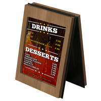 Menu Solutions CHRT7 Charleston 5 inch x 7 inch Weathered Walnut Two View Wooden Table Tent