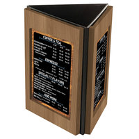 Menu Solutions TRIWD-B Charleston 5 inch x 7 inch Weathered Walnut Three View Wooden Table Tent
