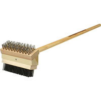FMP 133-1657 24 inch Double Head Texas Grill Brush Jr. with Coarse Scraping and Medium Brush Bristles