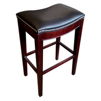 Holland Bar Stool 321025ESBlkVinyl Lynn Espresso Wood Counter Height Stool with Black Vinyl Saddle Seat