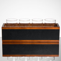 Acopa Crate with Straight-Sided Tasting Glasses