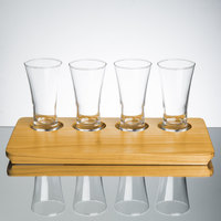 Core Beer Flight Set - 4 Flare Pilsner Sampler Glasses with 4-Holed Rustic Wood Sampler Tray