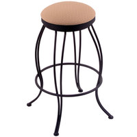 Holland Bar Stool 300025BWAxsSum Georgian Black Wrinkle Steel Counter Height Swivel Stool with Axis Summer Fabric Seat