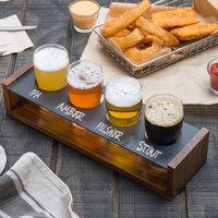 Acopa Tasting Flight Set - 4 Pub Sampler Glasses with Drop-In Taster Caddy