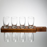 Core Beer Flight Set - 4 Beer Pub Taster Glasses with 4-Well Walnut Wood Dual-Sided Sampler Paddle