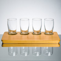 Core Beer Flight Set - 4 Beer Pub Taster Glasses with 4-Holed Rustic Wood Sampler Tray