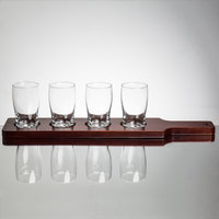 Core Beer Flight Set - 4 Beer Pub Taster Glasses with 4-Hole Red-Brown Wood Paddle