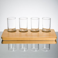 Core Juice / Beer Flight Set - 4 Juice / Beer Sampler Glasses with 4-Well Rustic Wood Sampler Tray