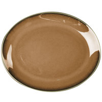 Homer Laughlin 31241439 Sepia™ 10 5/8 inch x 7 7/8 inch Oval Empire China Platter - 24/Case