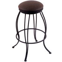 Holland Bar Stool 300025BWReiCof Georgian Black Wrinkle Steel Counter Height Swivel Stool with Rein Coffee Vinyl Seat