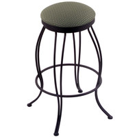 Holland Bar Stool 300025BWAxsGrv Georgian Black Wrinkle Steel Counter Height Swivel Stool with Axis Grove Fabric Seat