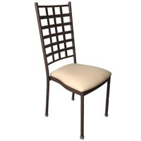 Holland Bar Stool STK-W-BZBE Bronze Stackable Chair with Beige Vinyl Seat