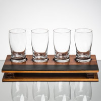 Core Beer Flight Set - 4 Beer Pub Taster Glasses with 4-Well Write-On Sampler Tray