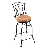 Holland Bar Stool 301030BWMedMpl Black Wrinkle Steel Bar Height Swivel Stool with Back and Medium Maple Wood Seat