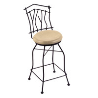 Holland Bar Stool 301030BWNatMpl Black Wrinkle Steel Bar Height Swivel Stool with Back and Natural Maple Wood Seat