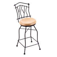Holland Bar Stool 301030BWNatOak Black Wrinkle Steel Bar Height Swivel Stool with Back and Natural Oak Wood Seat