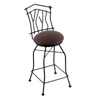 Holland Bar Stool 301025BWReiCof Black Wrinkle Steel Counter Height Swivel Stool with Back and Rein Coffee Vinyl Seat
