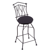 Holland Bar Stool 301030BWAxsDnm Black Wrinkle Steel Bar Height Swivel Stool with Back and Axis Denim Fabric Seat