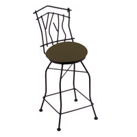 Holland Bar Stool 301030BWAxsGrv Black Wrinkle Steel Bar Height Swivel Stool with Back and Axis Grove Fabric Seat
