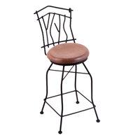Holland Bar Stool 301025BWMedOak Black Wrinkle Steel Counter Height Swivel Stool with Back and Medium Oak Wood Seat