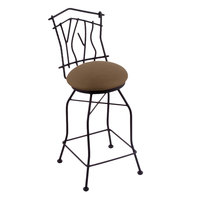 Holland Bar Stool 301030BWReiTha Black Wrinkle Steel Bar Height Swivel Stool with Back and Rein Thatch Vinyl Seat
