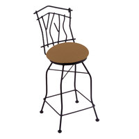 Holland Bar Stool 301030BWAxsSum Black Wrinkle Steel Bar Height Swivel Stool with Back and Axis Summer Fabric Seat