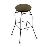 Holland Bar Stool 302025BWAxsGrv Black Wrinkle Steel Counter Height Swivel Stool with Axis Grove Fabric Seat