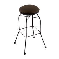 Holland Bar Stool 302025BWReiCof Black Wrinkle Steel Counter Height Swivel Stool with Rein Coffee Vinyl Seat